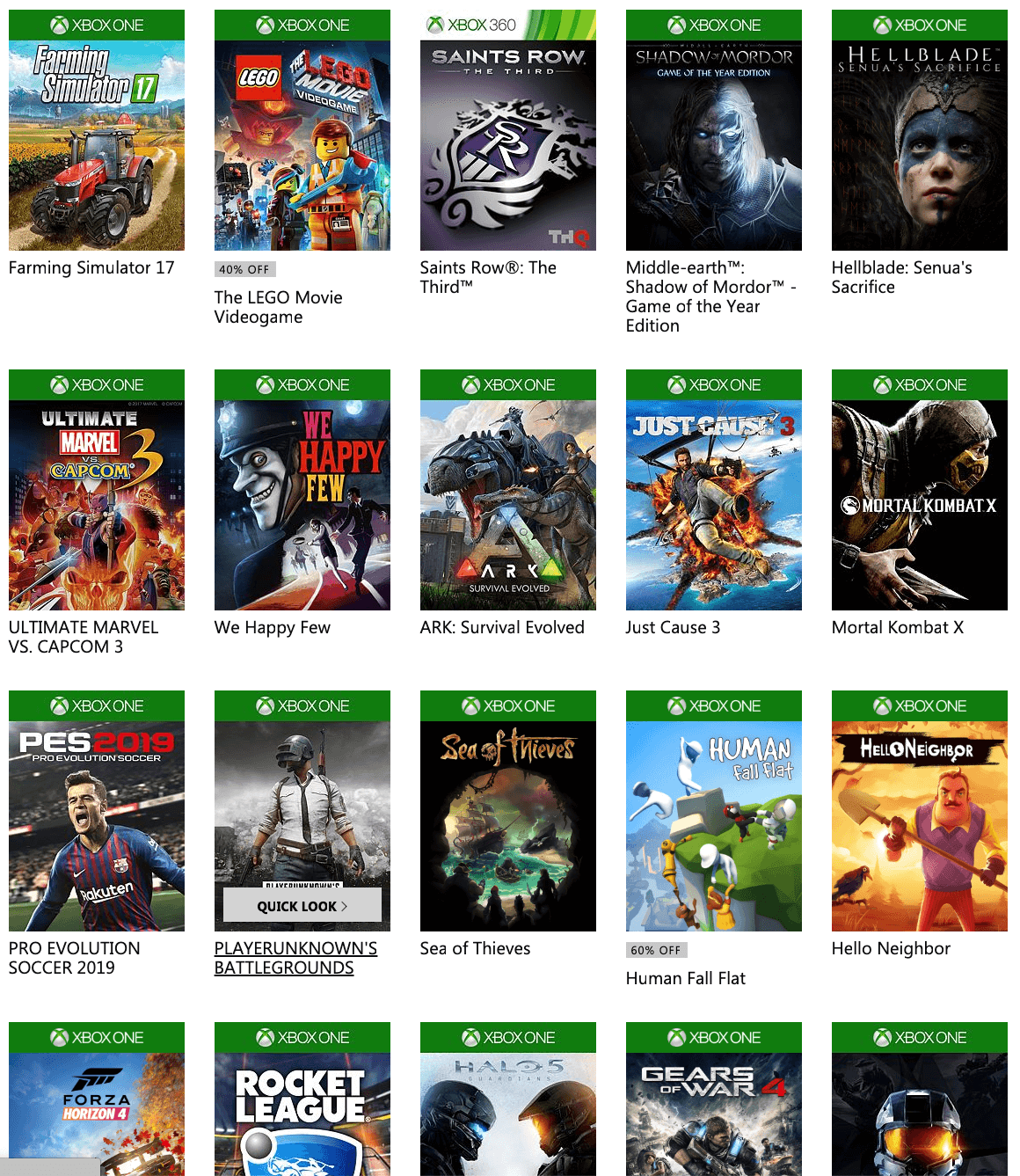 The Xbox Game pass library