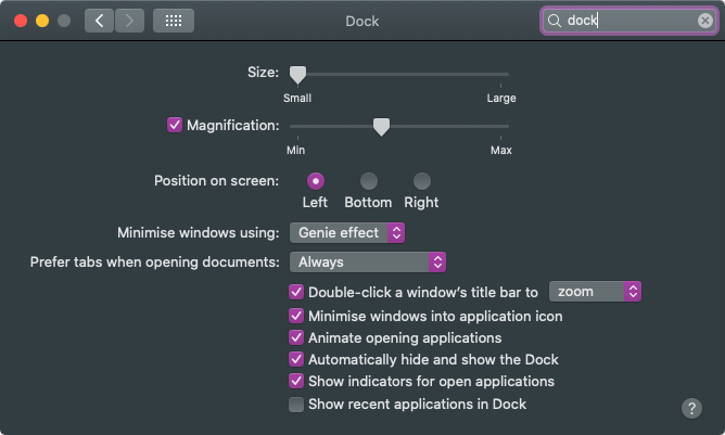 Mac dock settings